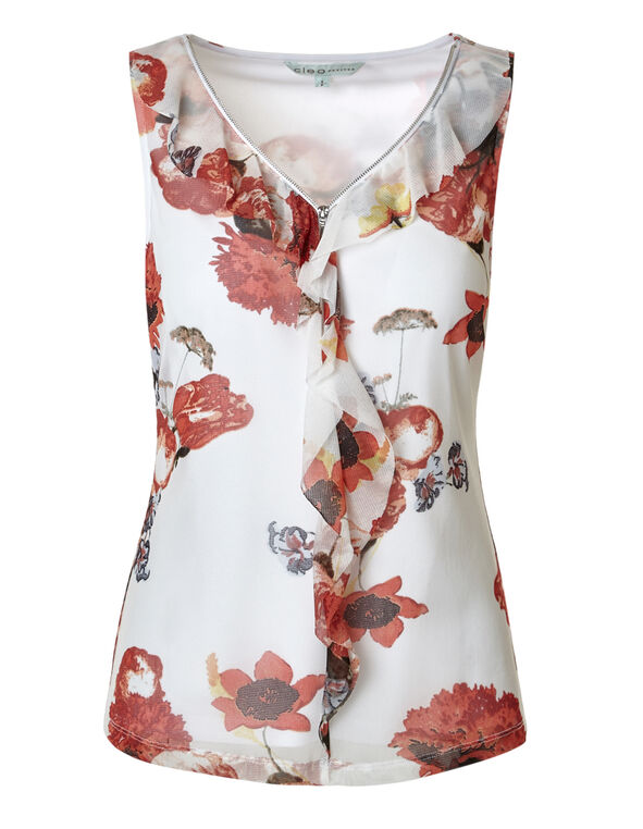 White Floral Ruffle Zip Top, White Floral, hi-res