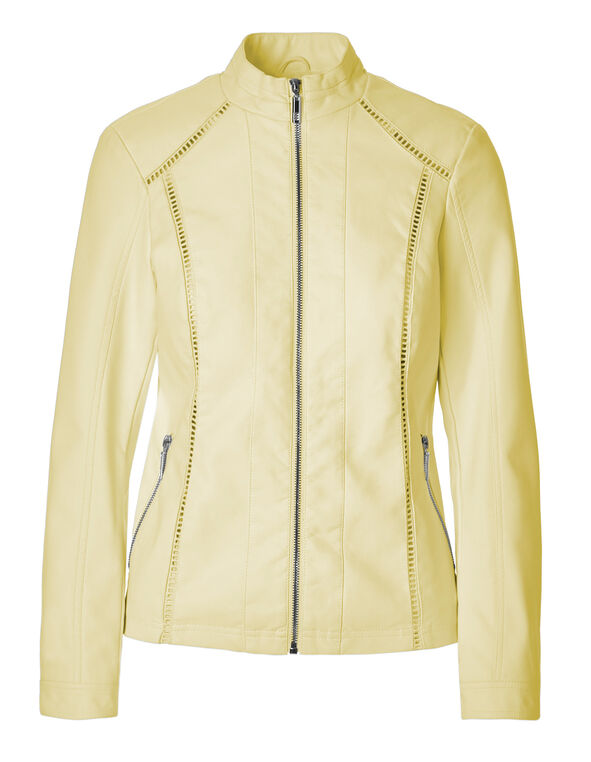 Yellow Crochet Faux Leather Jacket, Yellow, hi-res