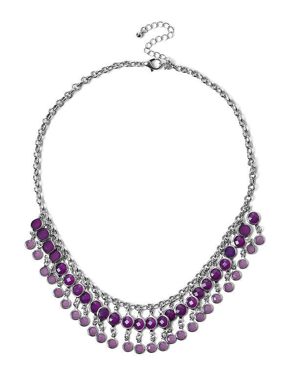 Mauve Short Statement Necklace, Purple, hi-res
