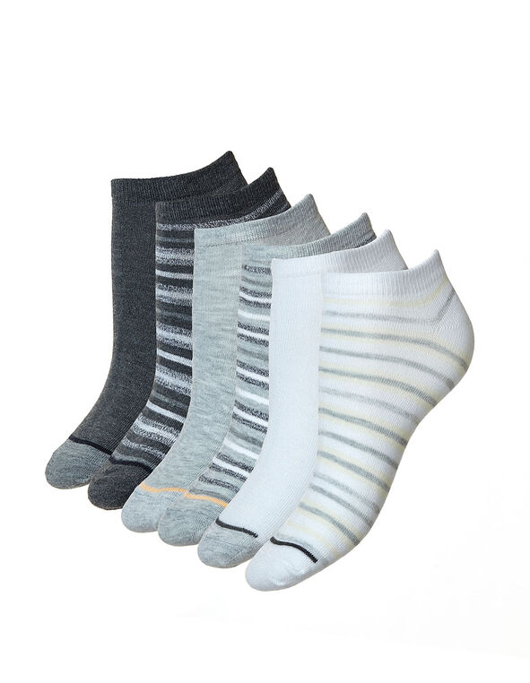 White & Grey Ankle Sock 6-Pack, White/Grey, hi-res