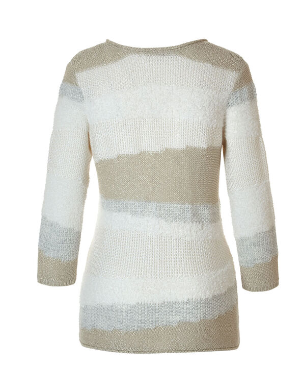 Neutral Mixed Stitch Sweater, Natural, hi-res