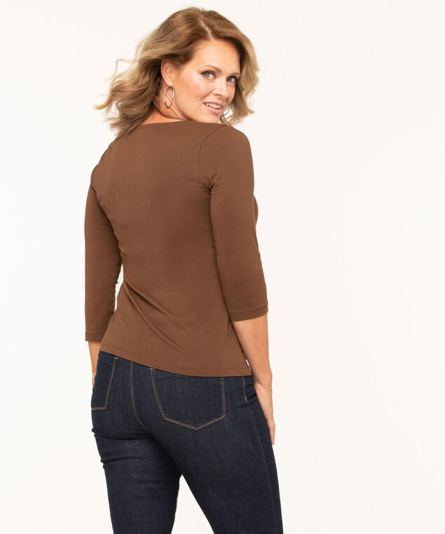 Cotton V-Neck Top, Md Brown, hi-res