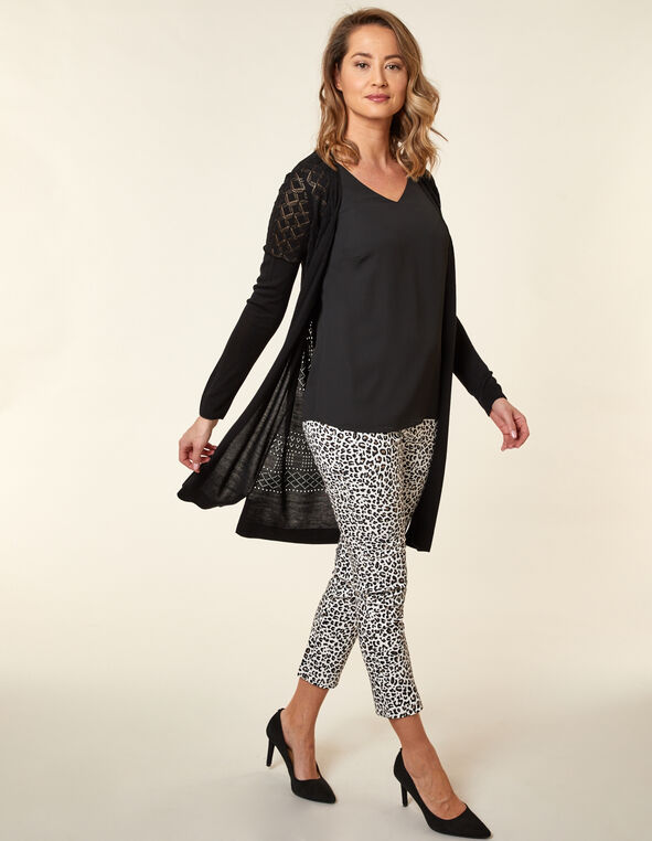 Black Stitch Long Cardigan, Black, hi-res