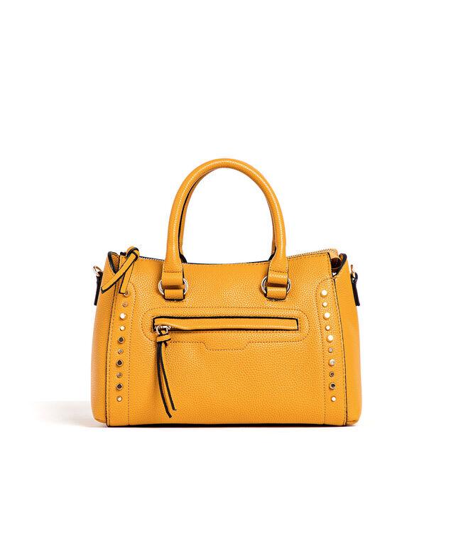 Yellow Gold Studded Handbag, Marigold/Gold Metal