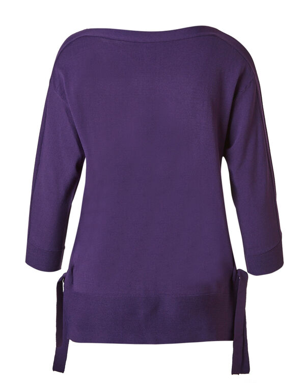 Dark Purple Crepe Pullover, Dark Purple, hi-res