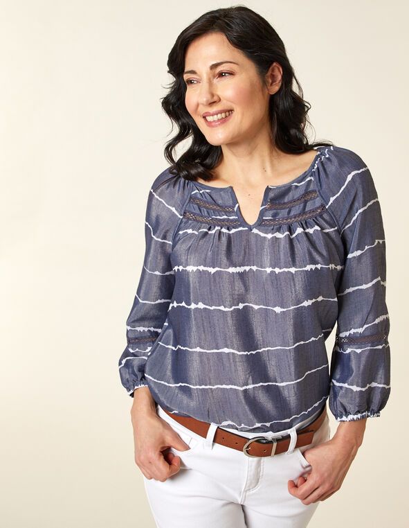 Blue Stripe Peasant Blouse, Blue, hi-res