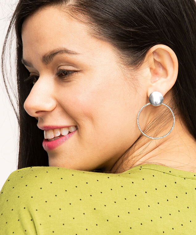 Textured Silver Frontal Hoop Earring, Silver