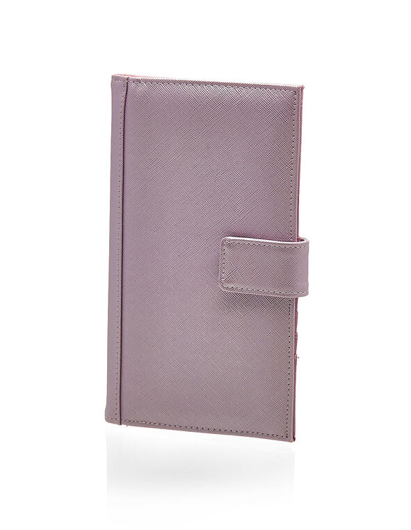 Purple Metallic Travel Wallet, Light Purple, hi-res