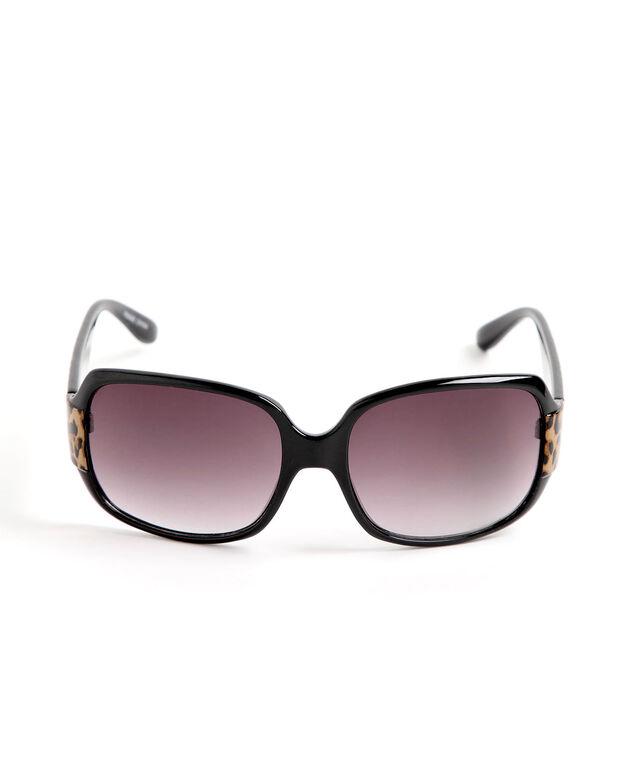 Leopard Print Rectangular Sunglasses, Black/Camel