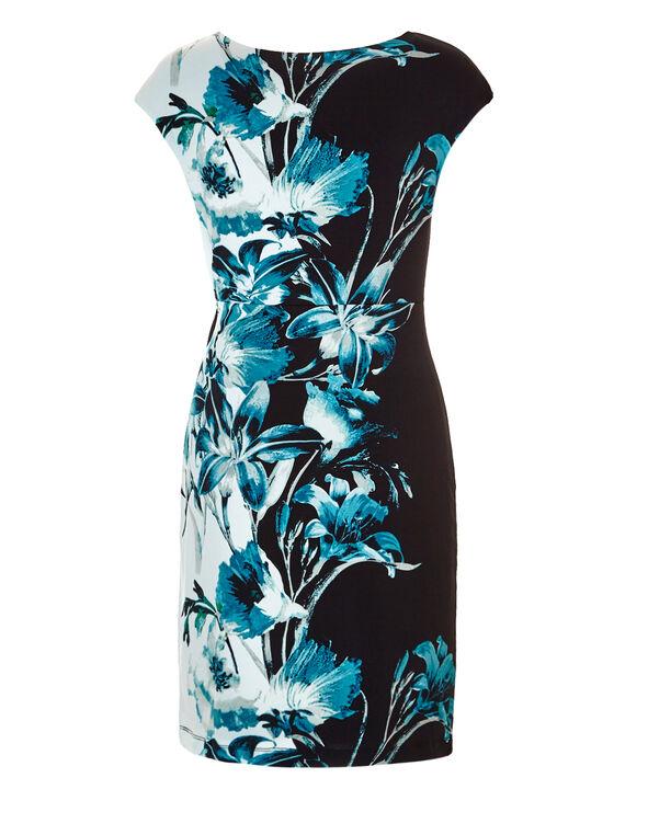 Blue Floral Side Tie Dress, Black/Blue/White/Grey, hi-res