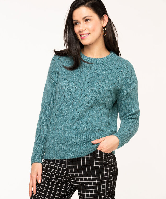 Mixed Yarn Cable Knit Sweater, Teal Mix