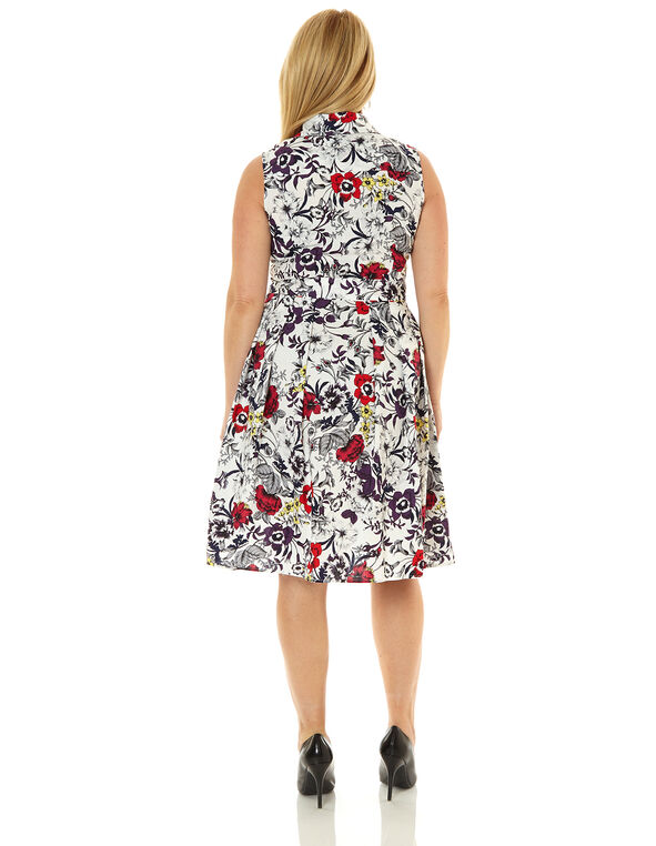 White Floral Cotton Fit & Flare Dress, White, hi-res