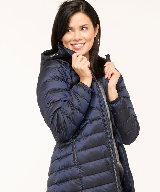 Pearlized Blue Packable Puffer, Mid Blue