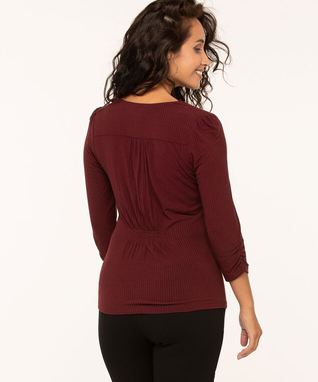 Ribbed Cross Front Top, Wine, hi-res