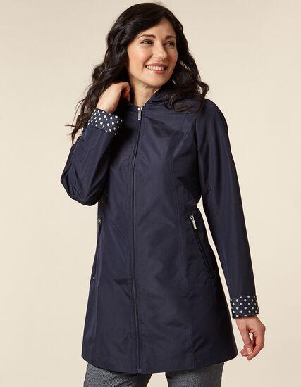 Navy Dot Raincoat, Navy, hi-res