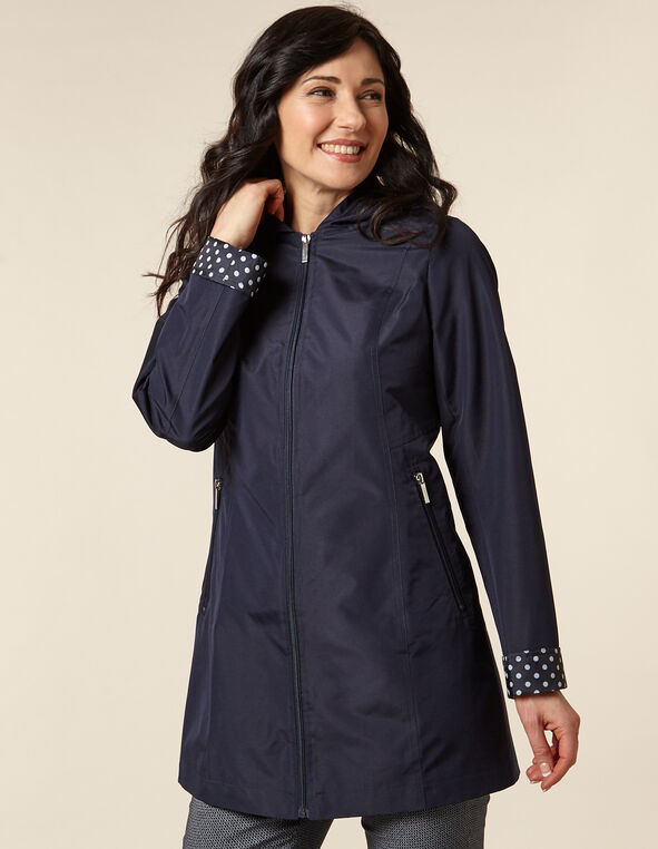 Navy Dot Raincoat, Navy, hi-res