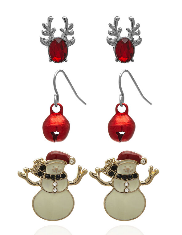 Christmas Earring Trio Set, Red, hi-res