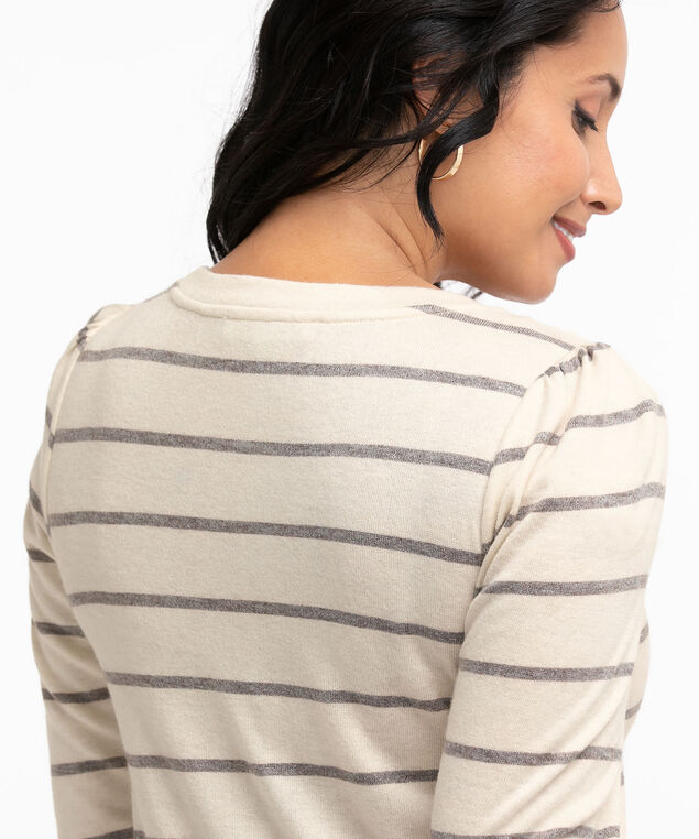 Hacchi Knit Pleated Sleeve Top, Oatmeal Stripe