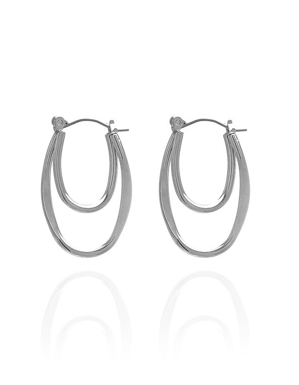 Silver Small Loop Earring, Silver, hi-res
