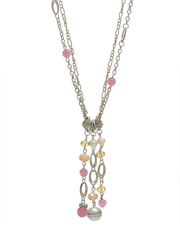 Pink Cat Eye Long Necklace, Pink, hi-res