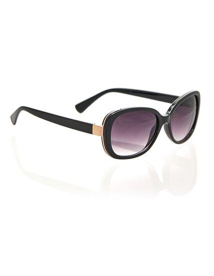 Black Gold Tip Sunglasses, Black, hi-res