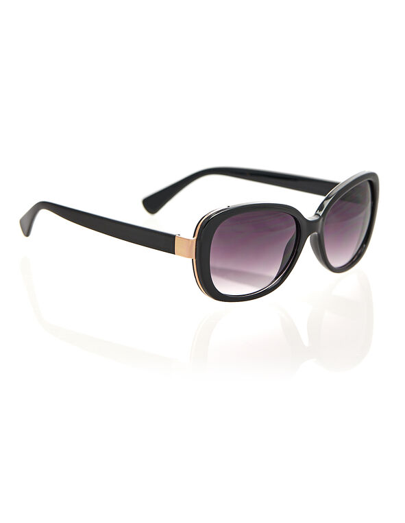 Black Gold Tip Sunglasses, Black, hi-res