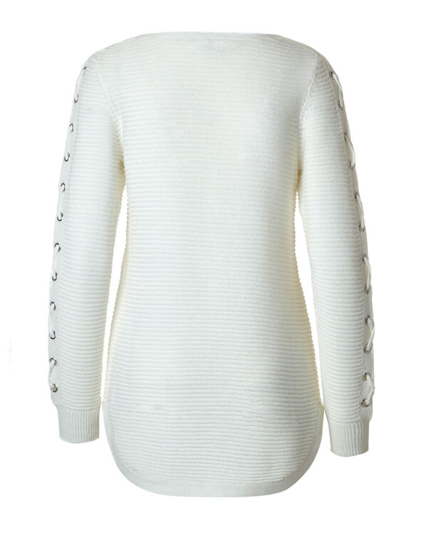 Ivory Ottoman Lace Up Sweater, Ivory, hi-res