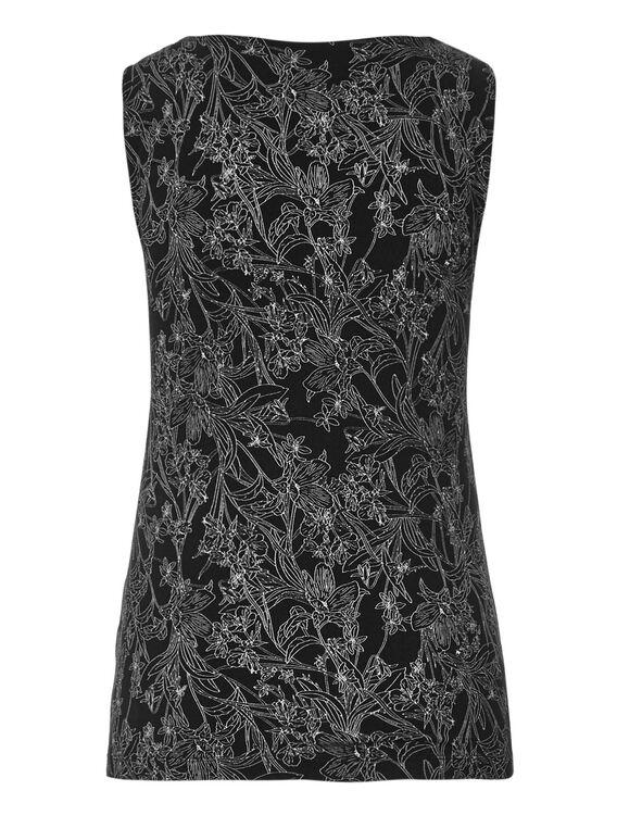 Black Floral Essential Layering Top, Black Print, hi-res