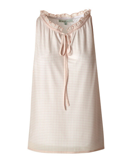 Pink Gingham Ruffle Neck Top, Pink, hi-res