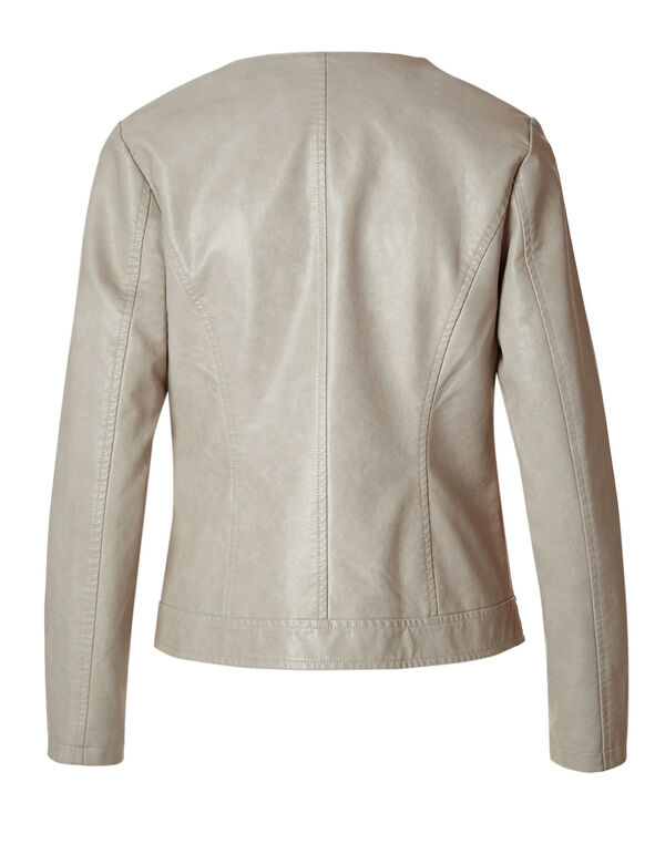 Neutral Moto Faux Leather Jacket, Neutral, hi-res