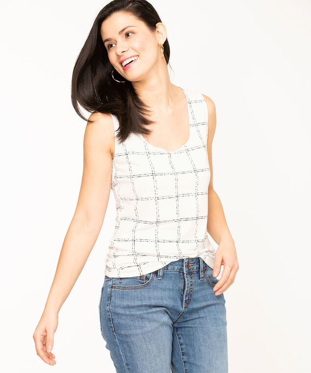 Scoop Neck Essential Layering Tank, Ivory Plaid