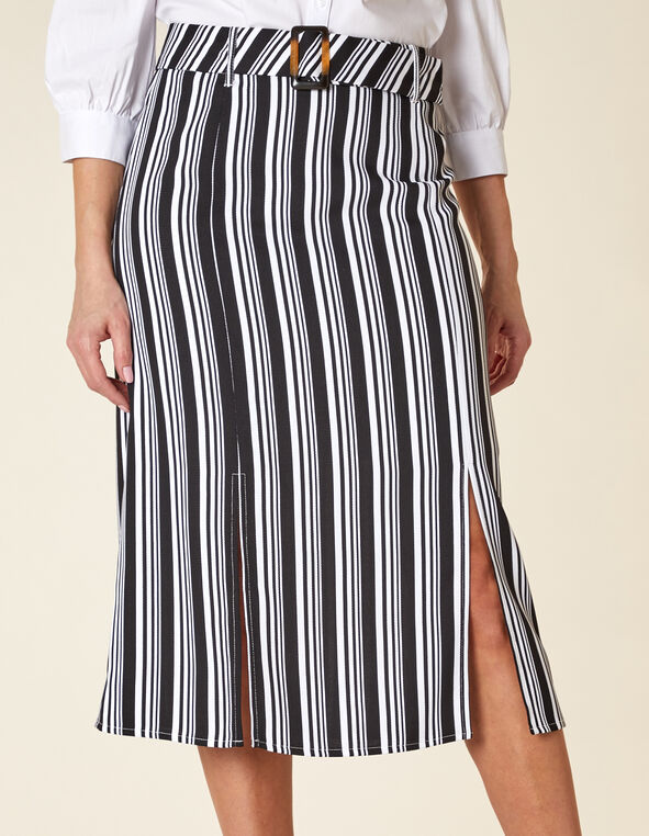 Striped Mid Length Skirt, Black/White, hi-res