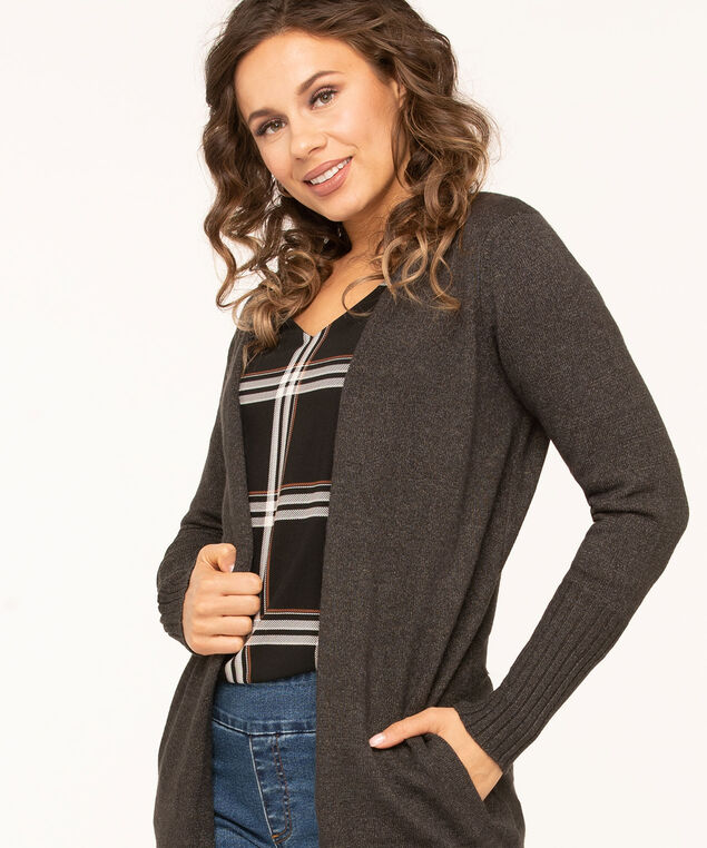 Long Cozy Open Cardigan, Charcoal, hi-res