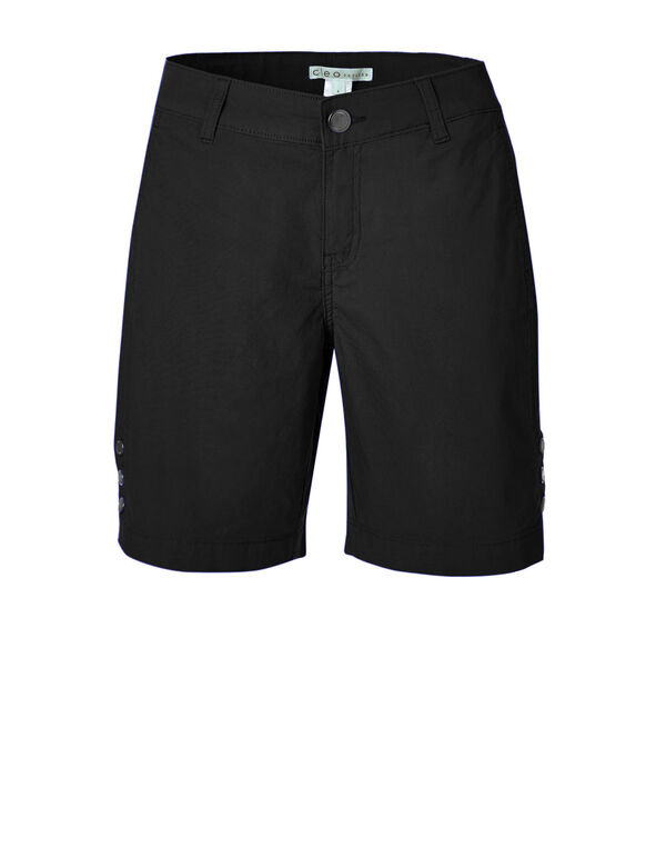 Black Poplin Bermuda Short, Black, hi-res