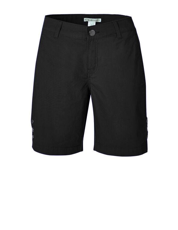 Black Poplin Bermuda Short, Black, hi-res