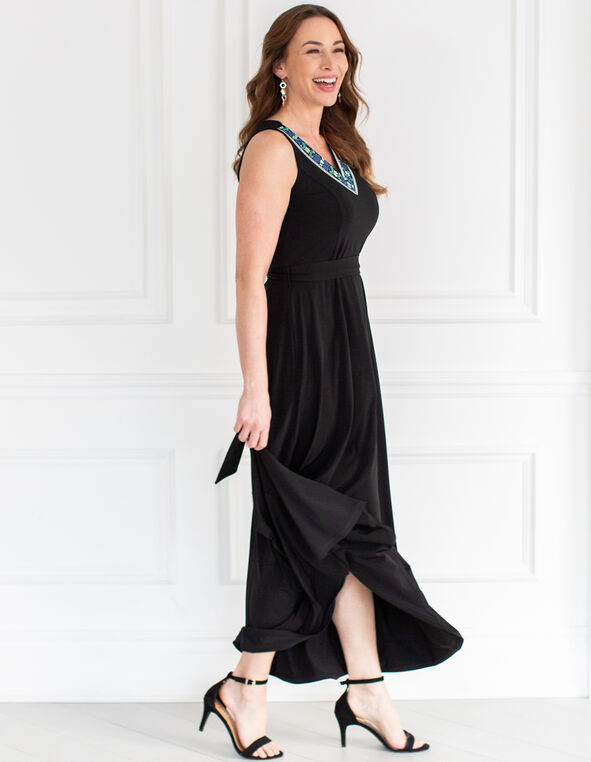 Black Embroidered Maxi Dress, Black, hi-res