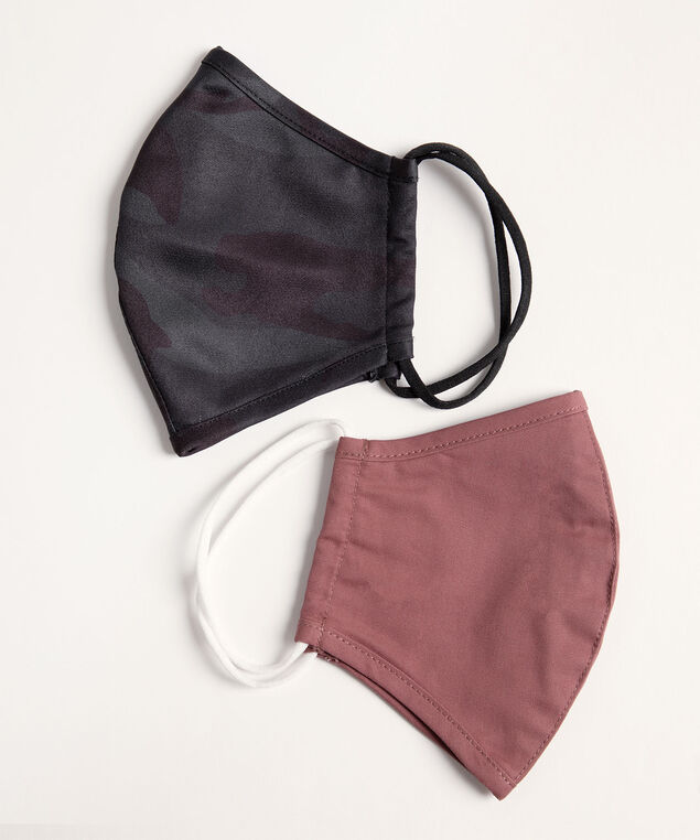 Cotton-Lined Face Mask Set, Rosewood/Black Camo