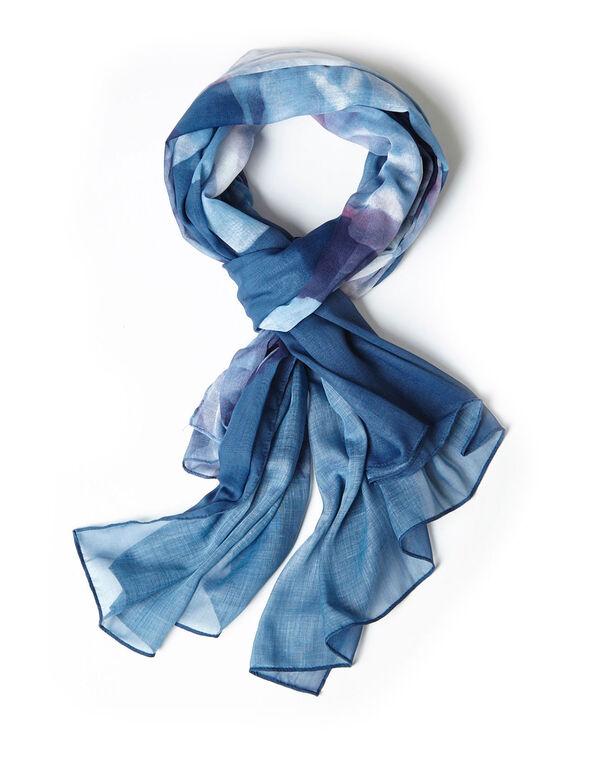 Lightweight Blue Floral Scarf, Blue, hi-res
