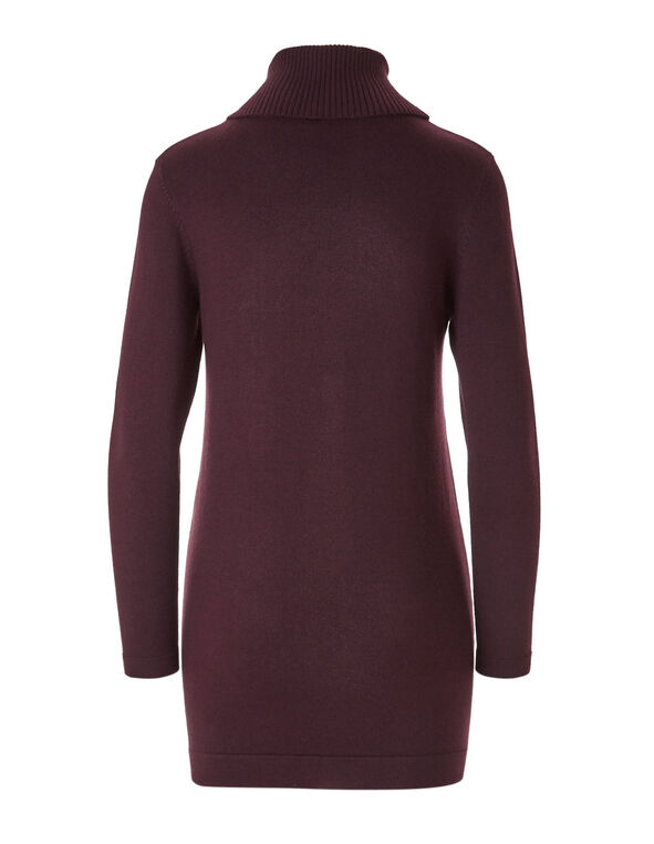 Burgundy Open Tunic Sweater, Burgundy, hi-res