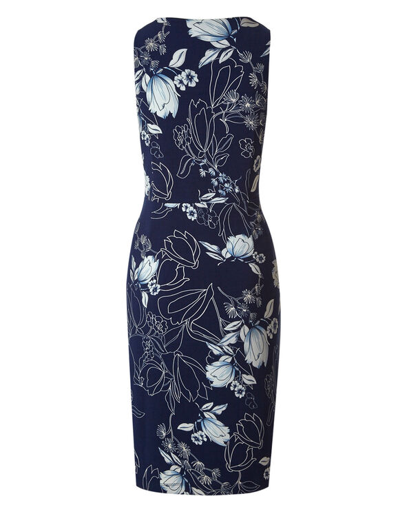 Navy Floral Sheath Dress, Navy, hi-res