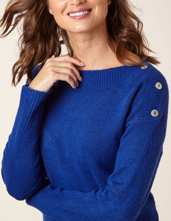Sapphire Button Detail Sweater, Blue, hi-res