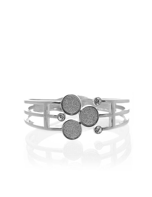 Silver Glitter Hinge Bracelet, Silver, hi-res