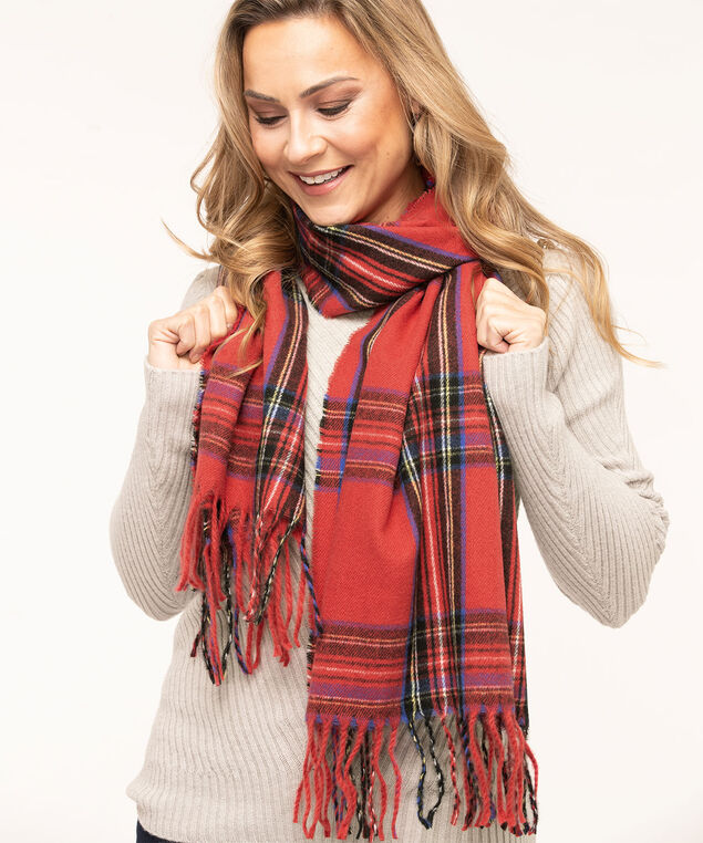 Ruby Tartan Super Soft Scarf, Red/Black/Blue/Yellow, hi-res