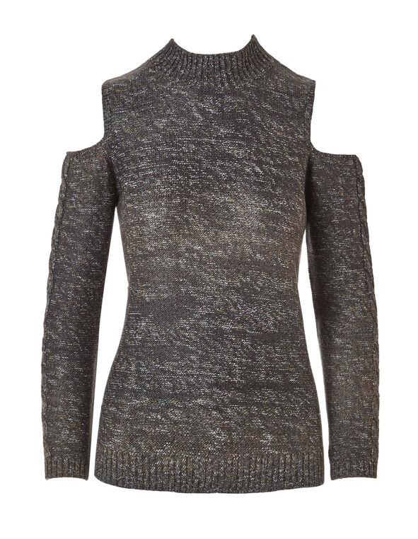 Brown Cold Shoulder Sweater, Brown, hi-res