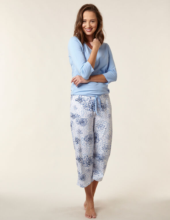 Blue Leaf Print Cotton Pyjama Set, Blue, hi-res