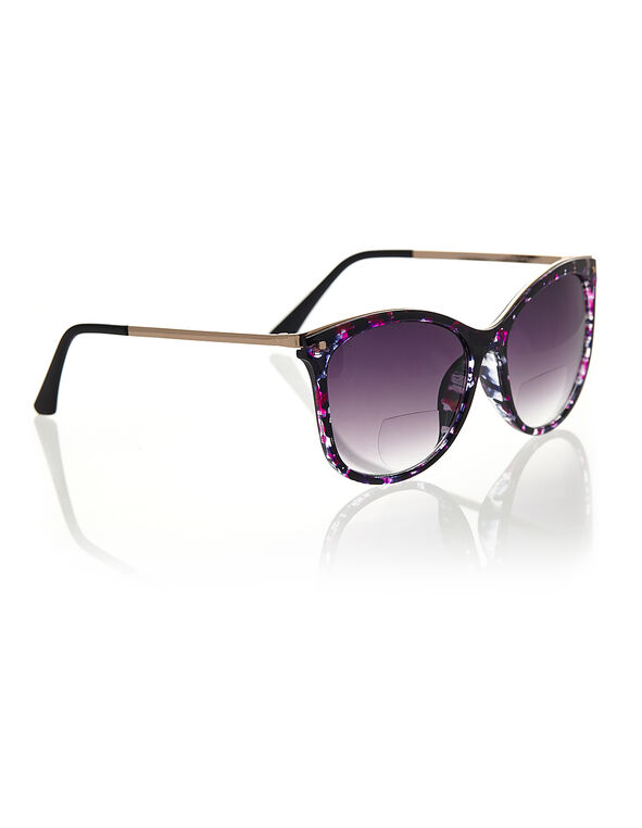 Purple Floral Large Bi-Focal Sunglasses, Black/Purple, hi-res