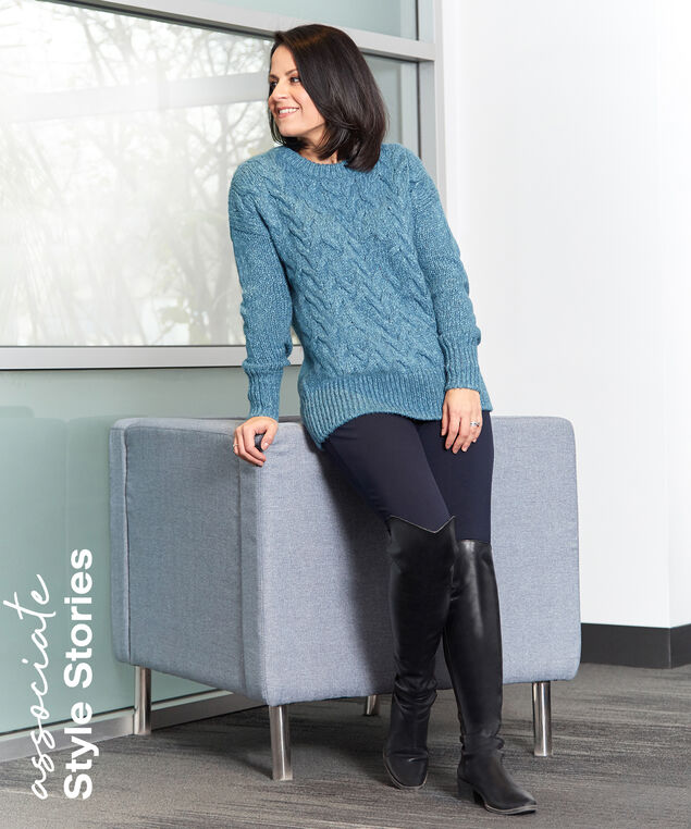 Associate Style Teal Sweater Look,