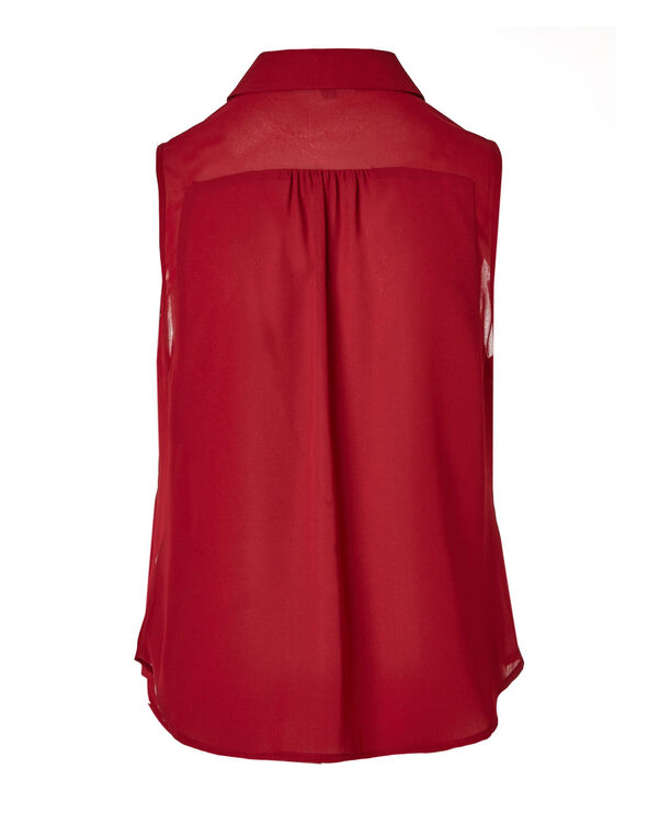 Red Button Front Sleeveless Blouse, Red, hi-res