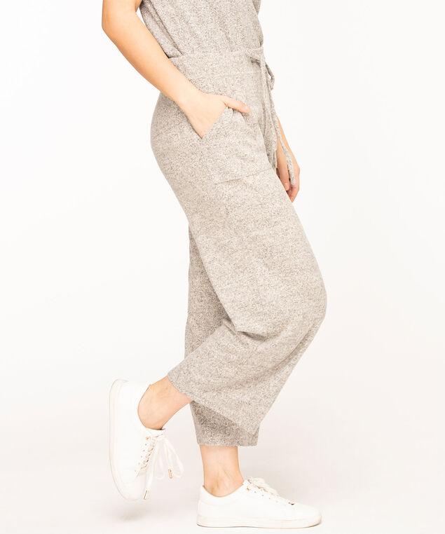 Wide Leg Drawstring Crop Pant, Light Grey Mix