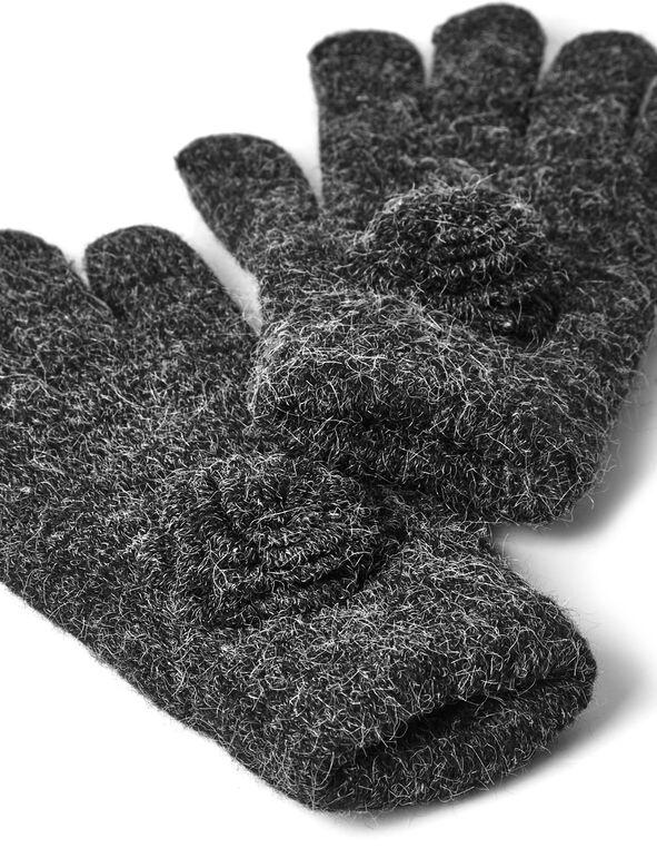 Grey Melange Knit Glove, Grey, hi-res